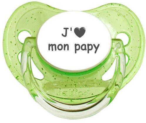 Sucette coeur J'aime mon papy
