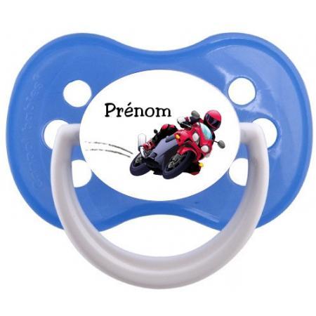 """Sucette personnalisée """"Prénom Moto"""""""