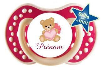 Sucette personnalisée ours coeur et prénom