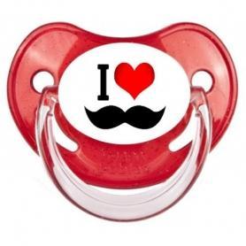 Sucette personnalisée I love moustache