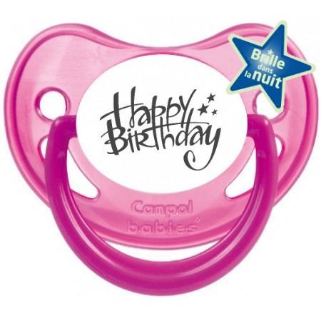 Sucette bébé happy birthday