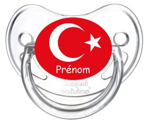 Sucette personnalisée drapeau Turquie et prénom