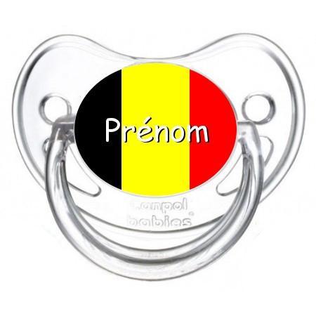 Sucette personnalisée drapeau Belgique et prénom