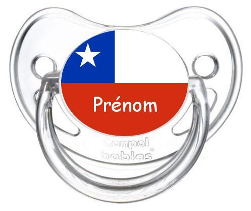 Sucette personnalisée drapeau Chili et prénom