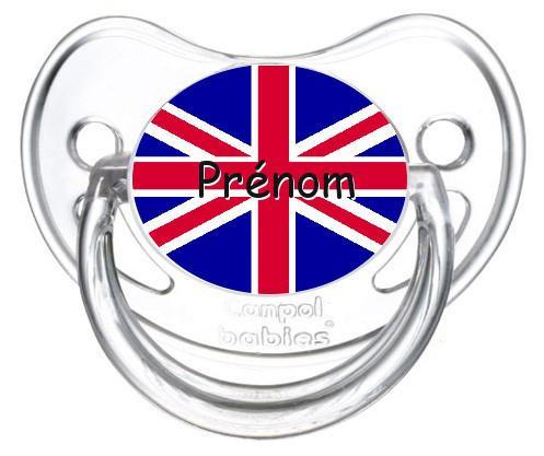 Sucette personnalisée drapeau Angleterre et prénom