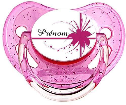 Sucette personnalisée fleur et prenom rose