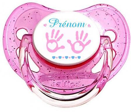 """Sucette personnalisée """"main de bébé et prénom"""" fille"""