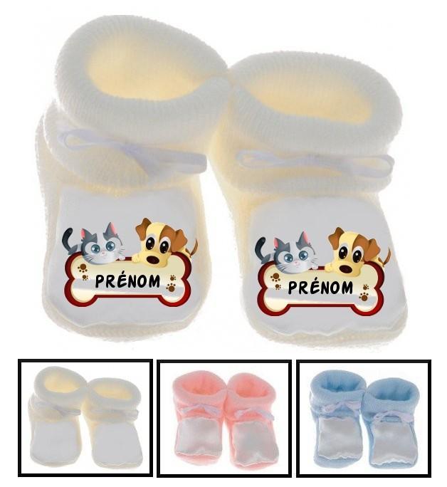 Chaussons bébé Chien chat prénom personnalisés