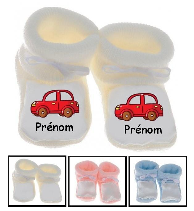 Chaussons bébé Voiture rouge prénom personnalisés