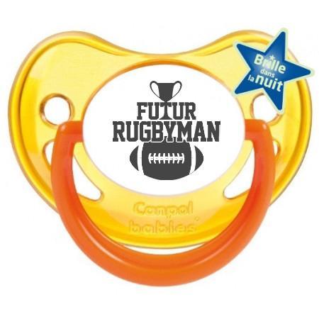 """Sucette bébé humour """"futur rugbyman"""""""