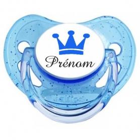 Sucette personnalisée couronne bleu et prenom