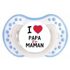 """Sucette personnalisée """"I love papa et maman"""""""