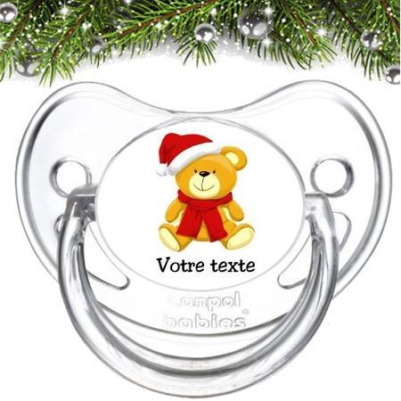 """Sucette bébé personnalisée """"Ourson Noël"""""""