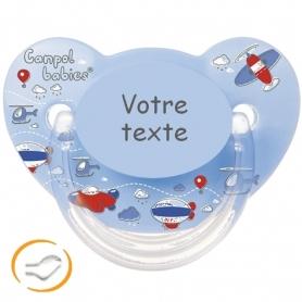 Sucette bébé personnalisée machine bleue