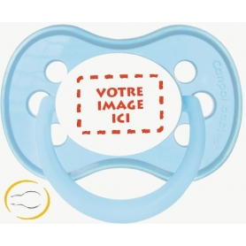Sucette personnalisée création bébé Symetrique Pastel bleue