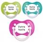 Sucettes personnalisées fille Funny (rose, vert, turquoise)