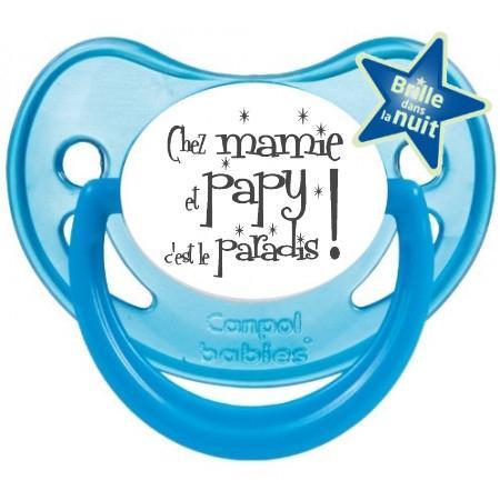 """Sucette bébé humour """"Chez mamie et papy c'est le paradis"""""""