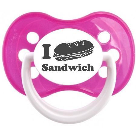 """Sucette bébé originale """"I love Sandwich"""""""